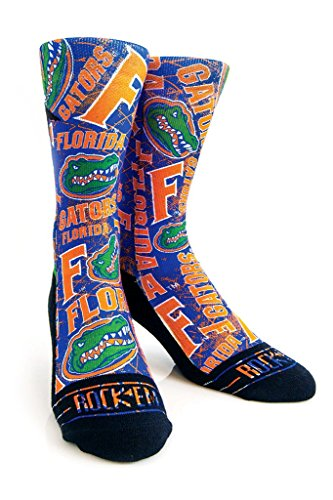 Rock'em Apparel University of Florida UF Gators Custom Athletic Crew Socks (L/XL (9-13), Logo Sketch)