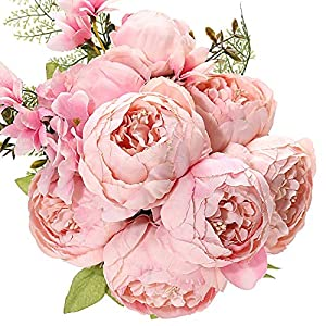Uworld Artificial Flowers Silk Plastic Fake Peony Flower Vintage Peonies Bouquet DIY Wreath for Home Wedding Centerpieces Décor (Peach Pink)