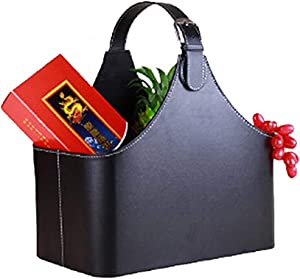 Leather Gift Basket,Magazine Newspaper Holder/Racks,Storage Organizer for Wine Flowers Fruits Candys,for Holiday Presents Christmas Display (Black #2)
