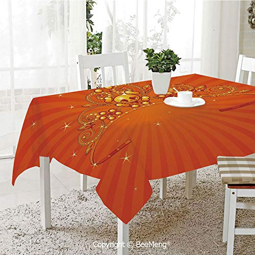 BeeMeng Dining Kitchen Polyester dust-Proof Table Cover,Queen,Fancy Halloween Princess Crown with Little Skull Daisies on Radial Orange Backdrop Stars Decorative,Orange,Rectangular,59 x 59 inches