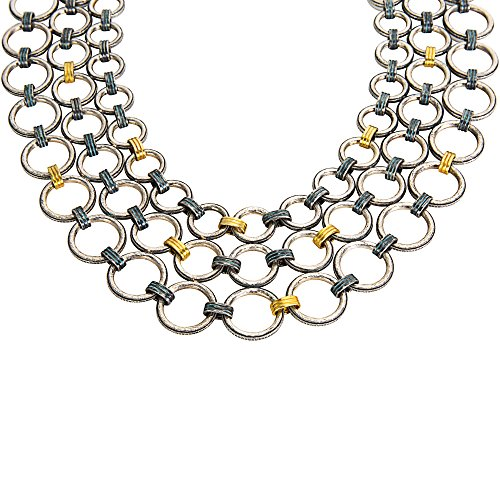 BRAND NEW Gurhan Hoopla Multi Strand Necklace Sterling Silver & 24K Yellow Gold (Gurhan Yellow Necklace)