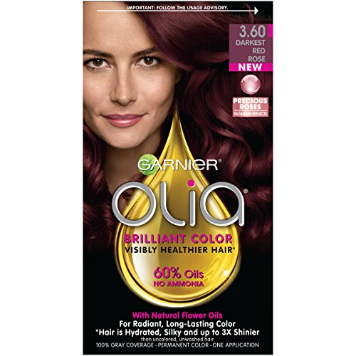 Garnier Olia Hair Color, 3.60 Darkest Red Rose, Ammonia Free Red Hair Dye (Packaging May Vary) - Exclusive Red Rose