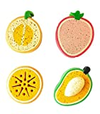 purifyou Premium Kids & Baby Bath Sponge, Set of 4 Fun Fruit Sponges (Set of 4, Assorted Fruits)