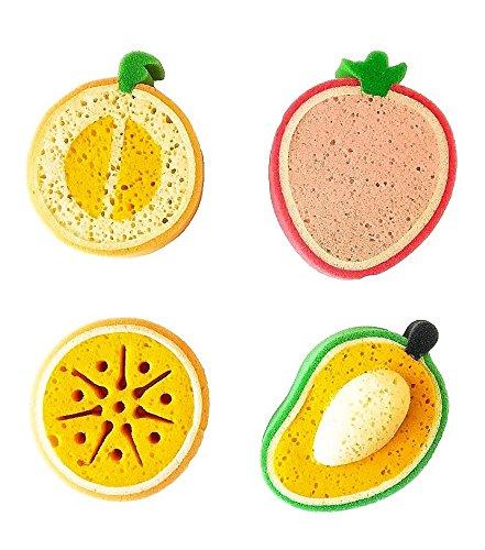s & Baby Bath Sponge, Set of 4 Fun Fruit Sponges (Set of 4, Assorted Fruits) ()