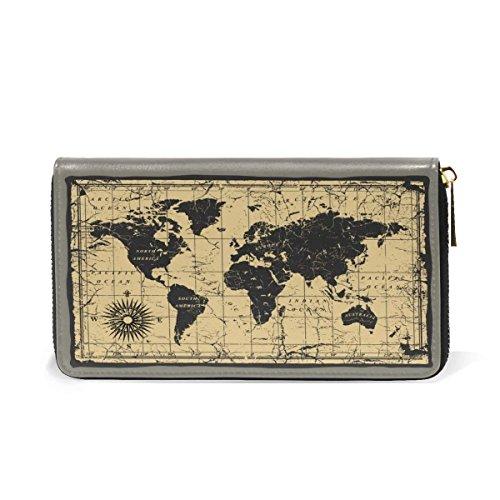World Map Real Leather Clutch Purse Money Card Passport Long Wallet Handbag Organizer by HangWang
