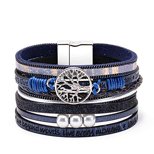 Startoo Tree of Life Wrap Bracelet -(Unisex) Gorgeous Blue Handmade Braided Multilayer Leather Cuff Magnetic Buckle Boho Bangle Bracelets for Women,Men, Mother's Day, ETC.