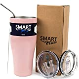 Tumbler 32 oz Color Rose Gold - Ultra-Tough Double Wall Stainless Steel Premium Insulated Cup - Keep Coffee and Ice Tea - Ultimate Set - Leak-Proof + Sliding Lid + Straw + Brush + Gift Box Rose Gold