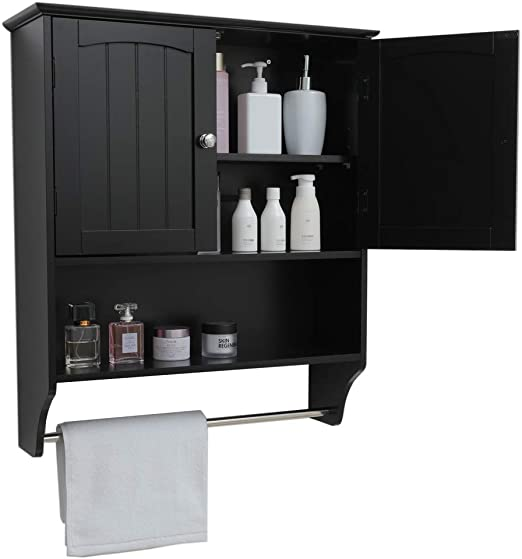 Amazon Com Iwell Black Wall Bathroom Cabinet With 1 Adjustable Shelf Towels Bar Over The Toilet Space Saver Storage Cabinet Medicine Cabinet With 2 Doors Cupboard Kitchen Dining