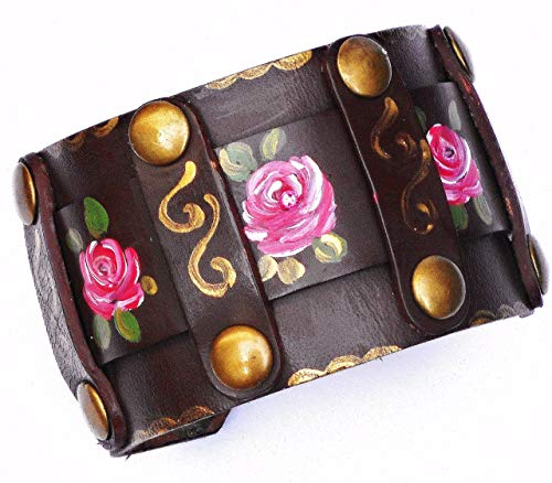 Adjustable Brown Leather Boho Cuff Bracelet with Studs, Painted Pink Roses and Swarovski Crystal Rhinestones