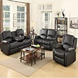 Mecor Reclining Sofa Sets Bonded Leather Recliner,Living Room Sofa Chair Furniture (1 Seat+2 Seat+3 Seat, Black)