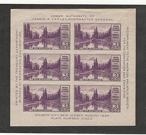 United States, Postage Stamp, 750 Mint LH Sheet, 1934 Mt. Rainier, JFZ
