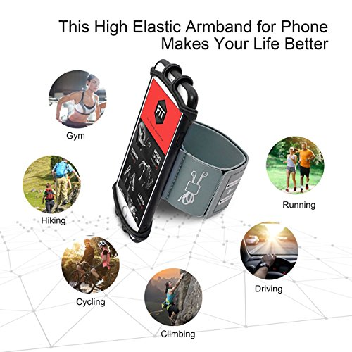 Running Armband for iPhone X/iPhone 8 Plus/ 8/7 Plus/ 6 Plus/ 6, Galaxy S8/ S8 Plus/ S7 Edge, Note 8 5, Google Pixel with Key Holder Phone Armband for Hiking Biking Walking Running(Black) by CICO (Image #6)