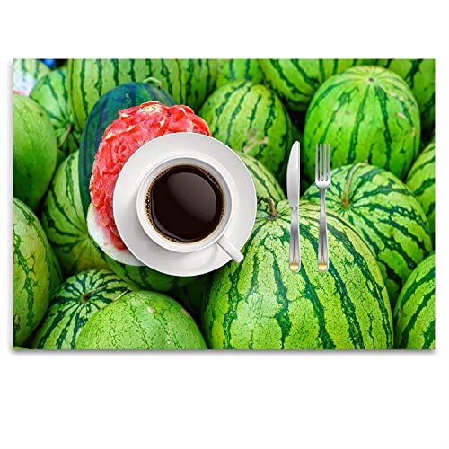 GPUnfdvc Watermelons Carved Flower Washable Fabric Placemats for Dining Room Kitchen Table Decor,14.8 x 9.9 -