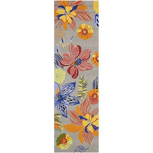 Safavieh Four Seasons Collection FRS468C Hand-Hooked Grey and Orange Indoor/ Outdoor Runner (2' x 6')