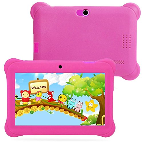 Kids Edition Tablet, 7'' HD Display, 8 GB, Kid-Proof Case, Android 4.4 Quad Core, 3D Game Supported (Pink) by Hometom