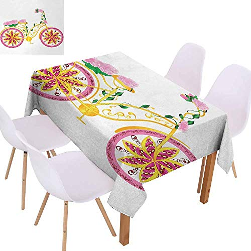 UHOO2018 Bicycle,Dust-Proof Tablecloth,Fantasy Bike with Exotic Swirling Floral Detail on The Seat and Tires Hippie Image,for Kitchen Dinning Decoration,Pink Yellow,60