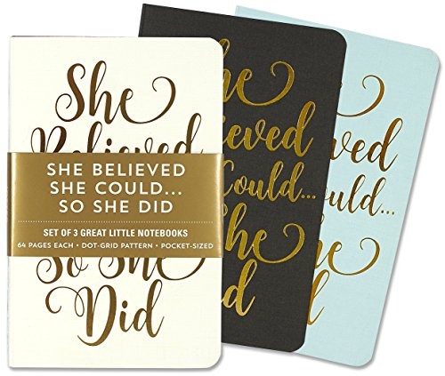 Jotter Mini Notebooks for Bullet Journaling -- She Believed She Could, So She Did (3-Pack) (Interior Dot-Grid Pattern)