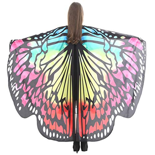 iDWZA Women Butterfly Wings Shawl Scarves Pixie Party Cosplay Costume Accessory(168135cm,Yellow C) -