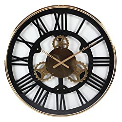 Deco 79 43514 Round Stainless Steel Wall Clock, 32, Gold/Black/White