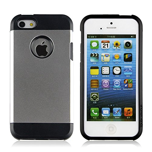 iPhone 5S Case, iThrough Ultra Slim Dual-Layer TPU Armor Protection Cover Case for iPhone 5/5s (Silver)