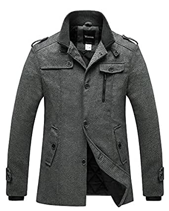 Wantdo Men's Wool Blend Pea Coat Single Breasted Thicken