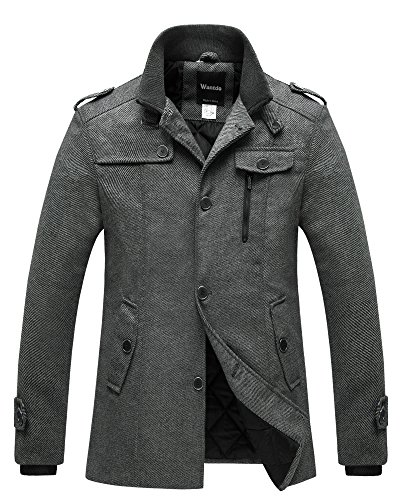 Wantdo Men's Warm Outwear Windproof Thicken Military Pea Coat Jacket Grey L
