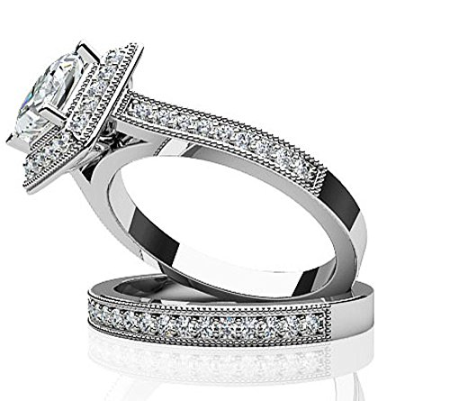14 K Or blanc diamant Dreams Princesse mariée Ensemble
