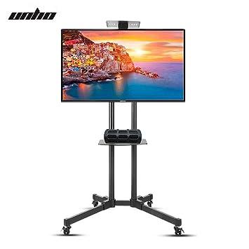 UNHO Soporte Móvil de Suelo para TV LED LCD OLED Plasma de 32-70 Pulgadas con Rueda Universal y 2 Estantes Flotantes Altura Ajustable Carga Máx 50kg VESA ...