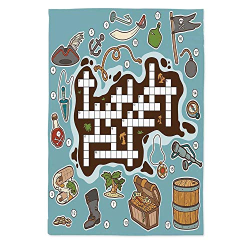 - Word Search Puzzle Fashionable Tablecloth,Kids Cartoon Game Grid Numbers Finding The Right Words Pirate Icons Decorative for Secretaire Square Table Office Table,72''W X 90.2''L