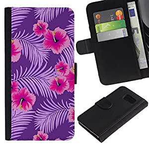 Planetar® Modelo colorido cuero carpeta tirón caso cubierta piel Holster Funda protección Para Samsung Galaxy S6 / SM-G920 ( Pink Flowers Pattern Branch )