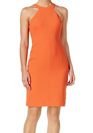 Calvin Klein Womens Scuba Crepe Halter Wear To Work Dress At Amazon
