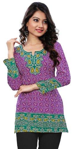 Kurti Top Long Tunic Womens Printed Blouse India Clothing (Purple, - India Blouse Clothing