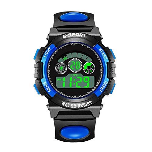 SADUORHAPPY Sport Watch 32M Waterproof Sport LED Alarm Stopwatch Digital Rubber Quartz Wristwatch for Boy Girl