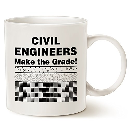 Funny Engineer Coffee Mug Christmas Gifts - CIVIL ENGINEERS Make the Grade! - Best Engineering Gifts for Men, Friend, Husband, Brother Ceramic Cup White, 14 Oz by (Engineering Family Halloween)