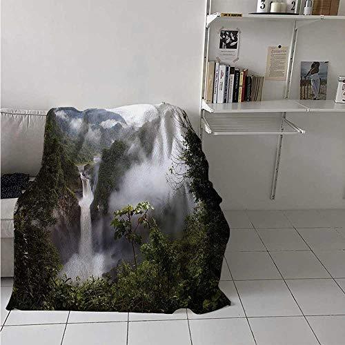 maisi Rainforest Digital Printing Blanket San Rafael Falls Ecuador Misty Natural Waterfall in Lush Jungle Landmark Scene Summer Quilt Comforter 62x60 Inch Green Grey
