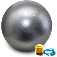 Bola Pilates Yoga Fitness 75 cm C/Bomba Abdominal Ginastica PRATA