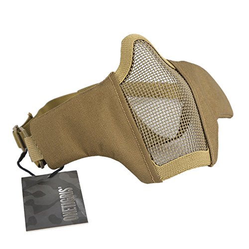 OneTigris Foldable Half Face Mesh Mask Military Style Comfortable Adjustable Tactical Lower Face Protective Mask 9 Colors Available (Tan) - Tan Mask