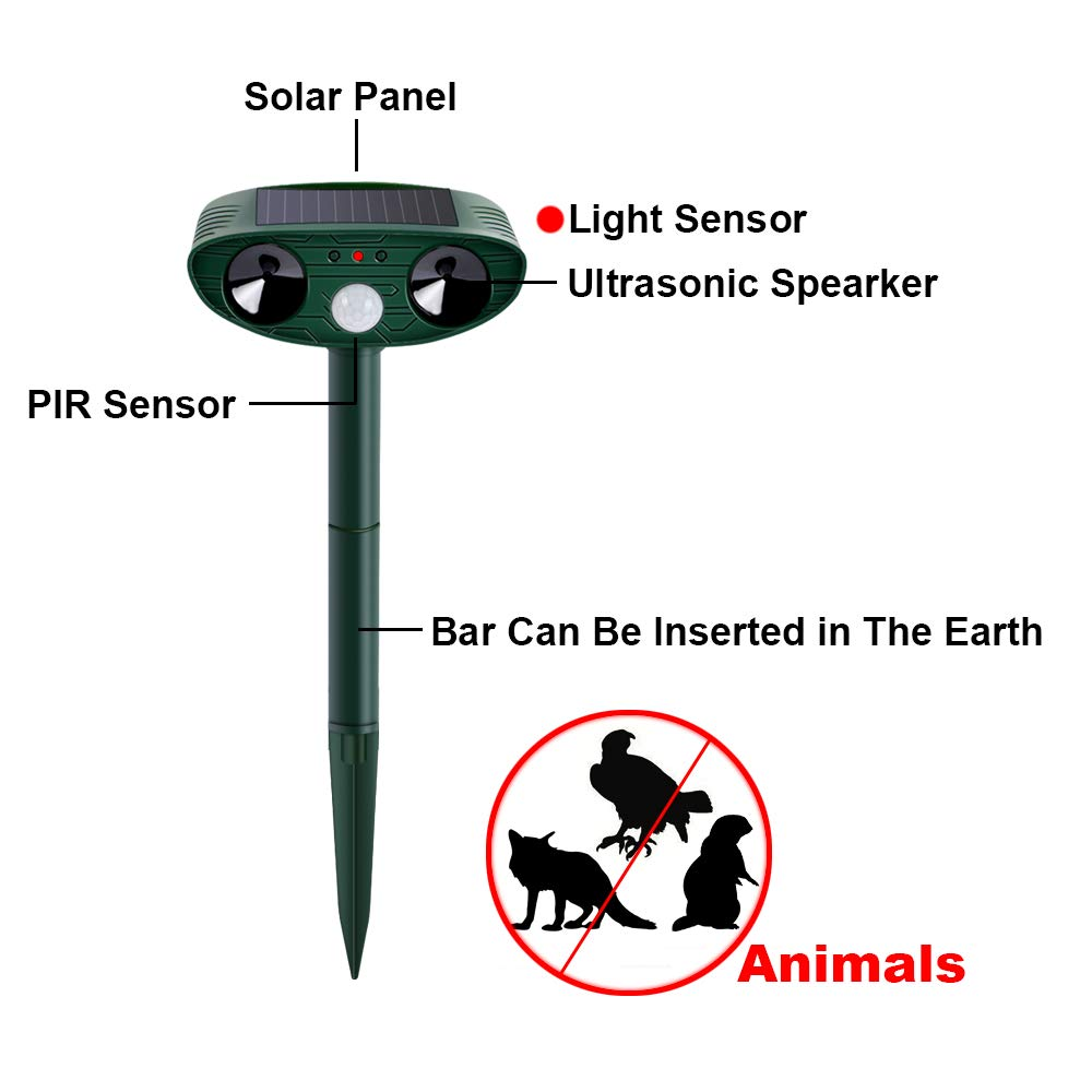 Solar Ultraschall Katzenschreck Tiervertreiber Abwehr Gegen Mäuse Hund Fuchs Dog