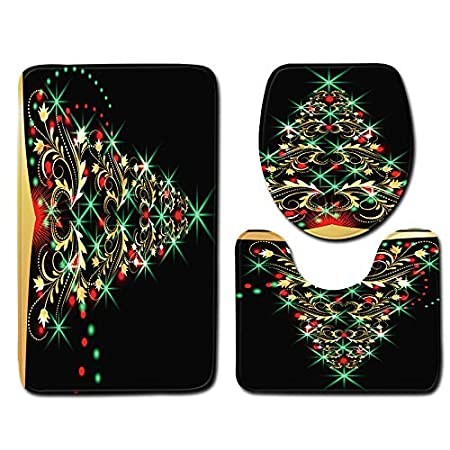 Vanvler Christmas Printed Rug, Decorations Bathroom Non-Slip Pedestal Rug + Lid Toilet Cover + Bath Mat 3PCS Set Decorations Bathroom Non-Slip Pedestal Rug + Lid Toilet Cover + Bath Mat 3PCS Set (H)