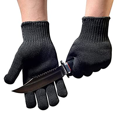 Schwer Cut Resistant Gloves- EN388 Level 5 Stainless Steel Wire Mesh Mechanic Safety Work Gloves Cut Proof for Kitchen Protection, Butcher