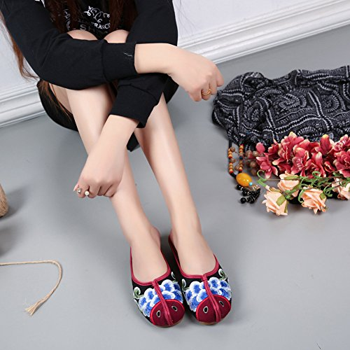 ZTL Chinese Embroidered Slippers Flat Shoes Women Backless Slip On Mule Flats AlZcdhj