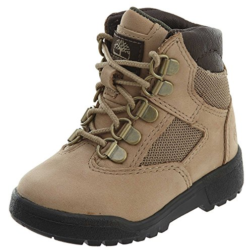 (Timberland Kids Unisex 6'' Leather/Fabric Field Boot (Toddler/Little Kid) Beige 9 Toddler M)
