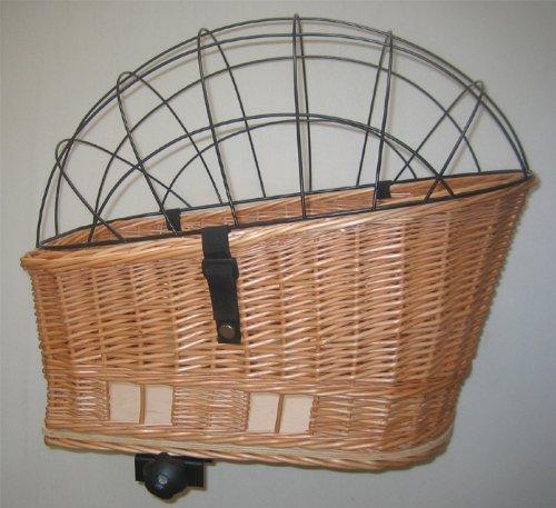 Tigana - Hundefahrradkorb für Gepäckträger aus Weide 60 x 39 cm mit Metallgitter + Kissen Tierkorb Hinterradkorb Hundekorb für Fahrrad