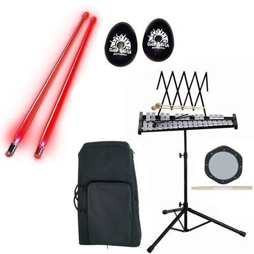 Band Directors Choice Educational Bell Kit Pack Deluxe w/Carry Bag, Drum Practice Pad, Red Light Up Drumsticks & BONUS Black Rhythm Percussion Shakers by Bell Kit Educational Packs