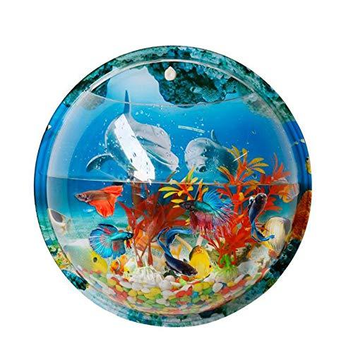 Tfwadmx Wall Mount Fish Bowl, Wall Hanging Fish Bowl, Bubble Wall Fish Tank, Aquarium Acrylic Plant Pot Home Decor Flowerpot (Dolphin Pattern Background)