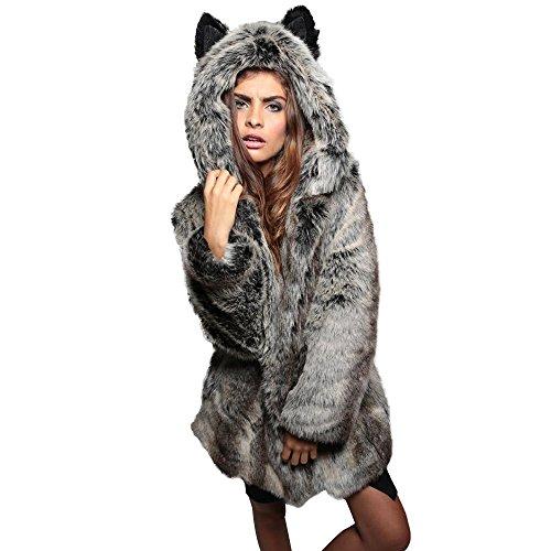 JESPER 2018 New Women Faux Fur Coat with Ear Plush Coat Wolf Modeling Coats Cashmere-Like Hooded Gray