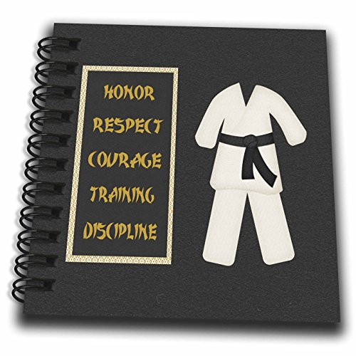 3dRose db_180798_3 Karate Karategi Uniform Black Belt Honor Respect Courage Train Discipline Mini Notepad, 4 by 4