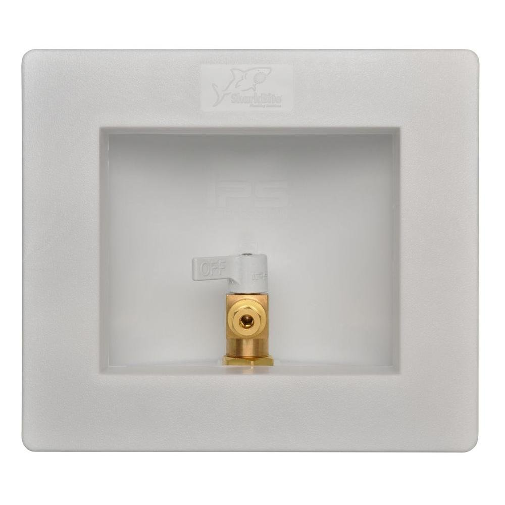 Sharkbite 25032A Ice Maker Outlet Box, 1/2 inch x 1/4 inch Compression, Push-to-Connect Copper, PEX, CPVC, PE-RT Pipe