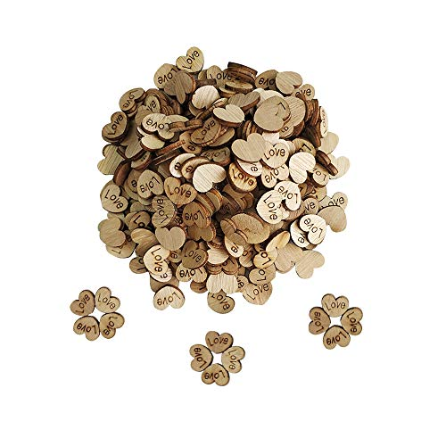 300pcs Rustic Wooden Hearts Love Wood Table Confetti for Wedding or Party Table Scatter Decor
