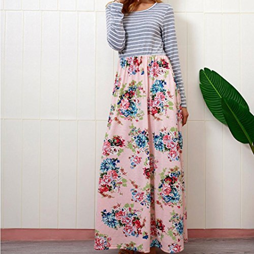 Rambling Women's Casual Striped Long Sleeve Floral Print Bohemian Tank Dresses Party Evening Long Maxi Dresses with Pockets by Rambling (Image #4)